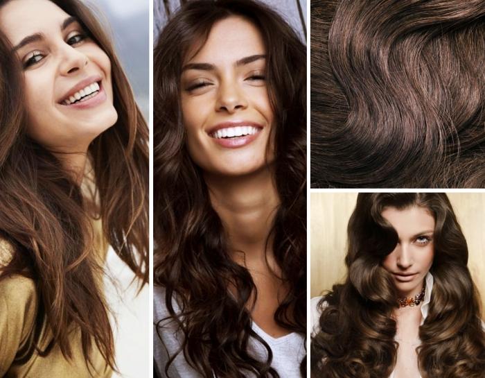 coloration cheveux tendance naturelle de nuance châtain foncé aux reflets acajoux ou miel, coiffure de cheveux romantique avec boucles
