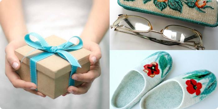 surprise en forme d'accessoire pour lunettes de vue ou une paire de pantoufles chaudes de couleur vert à offrir pour la fête des grands mères