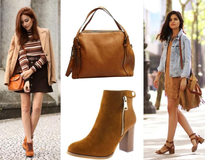 quels accessoires choisir pour une tenue en couleurs beige et marron, robe bohème chic camel avec veste en denim clair et sac à franges