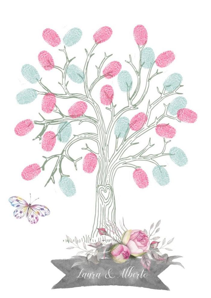 idée dessin en couleurs avec un arbre aux branches verts et petit coeur sur le tronc à décorer aux empreintes rose et vert pastel