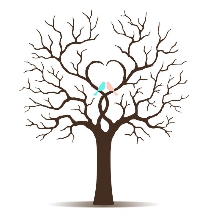 couple d'oiseaux amours assis sur les branches en forme de coeur d'un arbre symbole de l'amour et de la famille