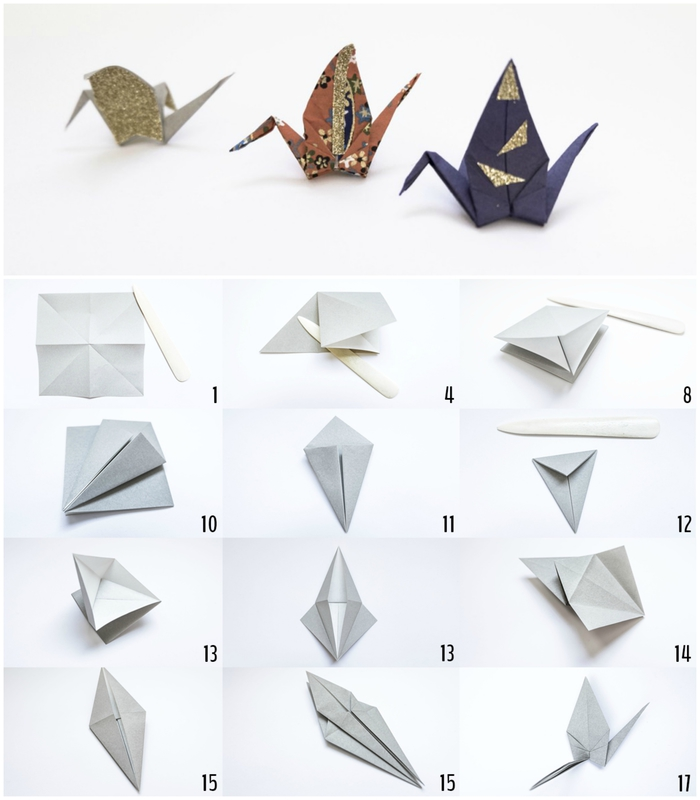 tuto origami oiseau facile, trois modèles de grue en papier pour réaliser ses propres breloques pour bijoux de fantaisie