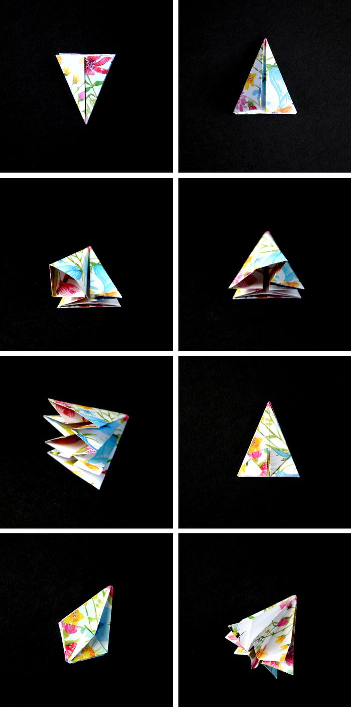 petit projet de pliage origami pour réaliser des gemmes précieuses aux motifs colorés, bricolage origami pour la fête de noël