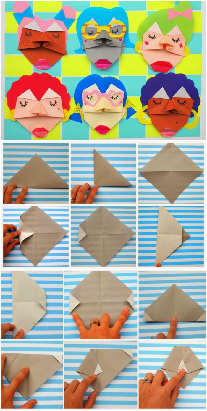 un bricolage origami enfant facile avec des feuilles de papier transformées en visages originaux de personnages variés