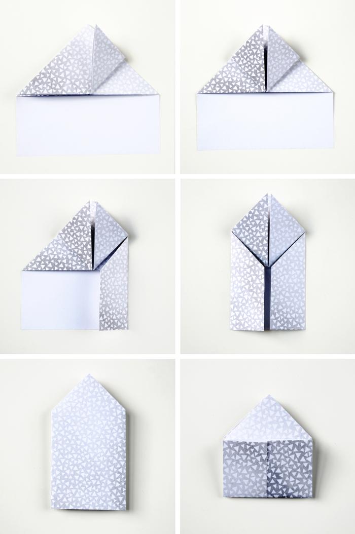 des mini-boîtes en papier imprimé argenté, en forme de coeurs origami, les étapes de pliage papier pour réaliser des coeurs en origami