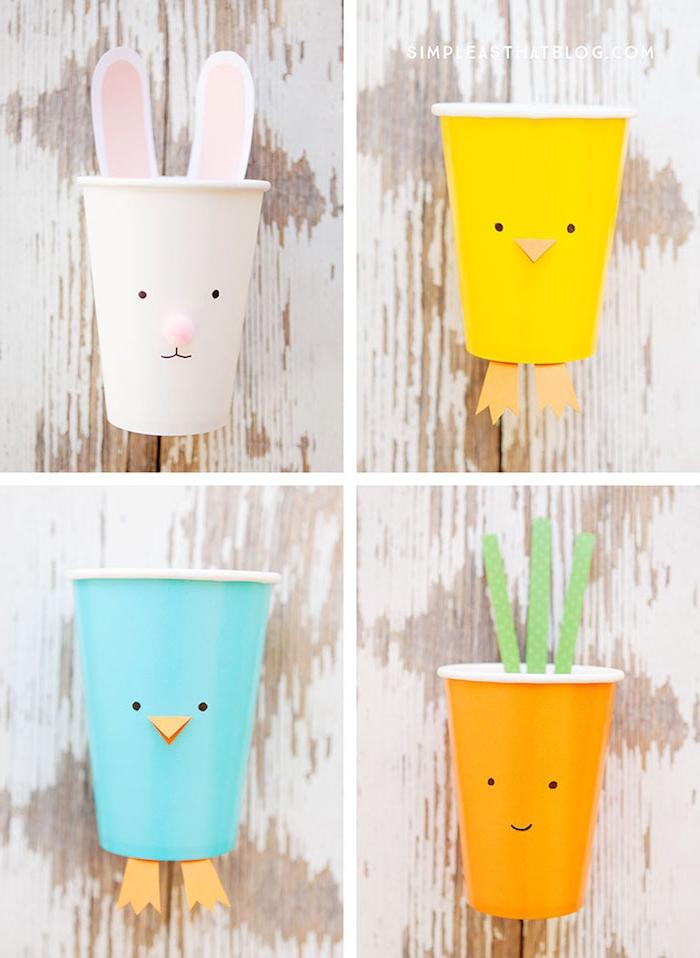 exemple d activité manuelle primaire, gobelets en plastique colorés avec des éléments visage en papier et dessin, carotte, poussin et lapin de paques