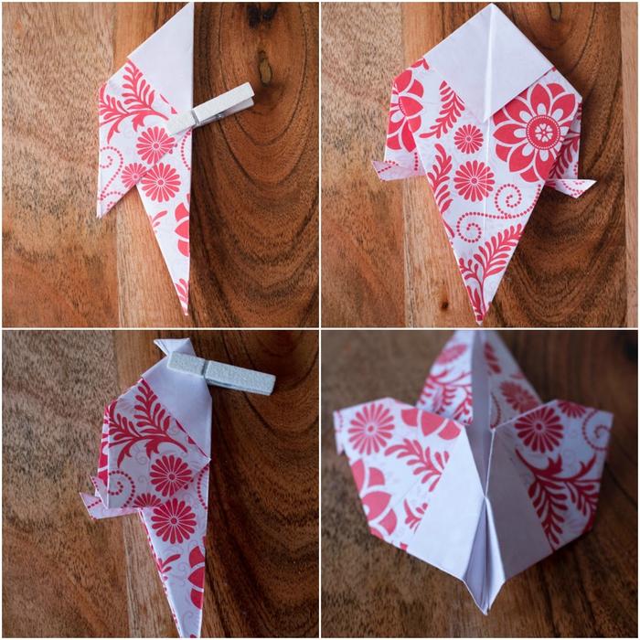 un bricolage origami enfant pour fêter le printemps en réalisant de jolisx oiseau en papier aux motifs colorré