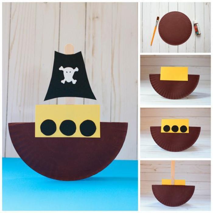 activités manuelles enfants pour la maternelle, comment réaliser un bateau pirate en assiette plate de carton