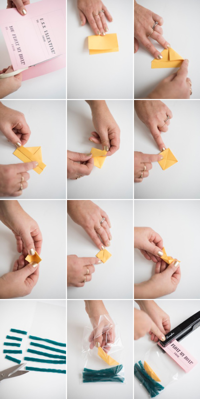 petit cadeau gourmand pour la saint-valentin à faire soi-même avec un bateau origami et des bonbons à la réglisse