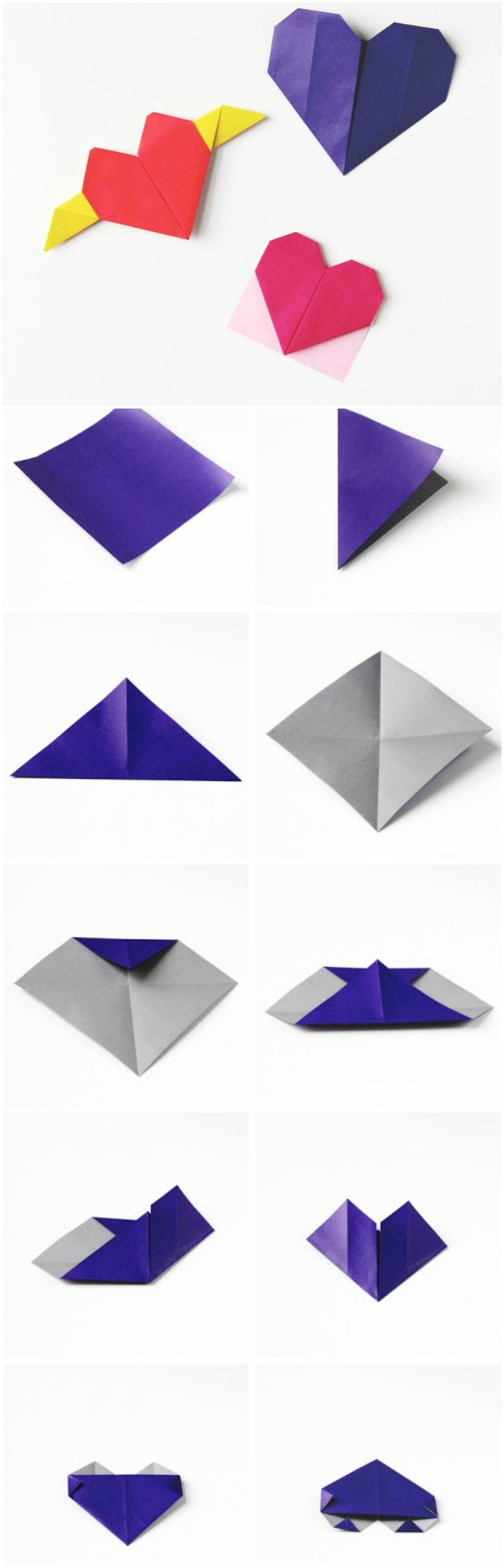 trois façons de réaliser un coeur origami décoratif avec les étapes de pliage papier en photos