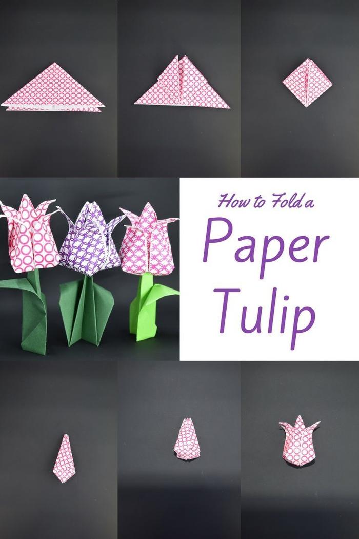 une jolie fleur en origami idéal pour un bricolage de printemps avec les enfants, modèle de tulipe en origami