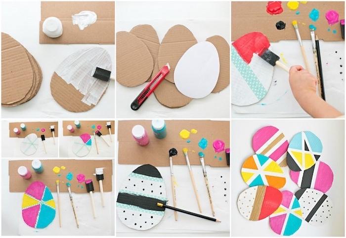 comment créer des oeufs de paques en papier carton ondulé avec de divers motifs en peinture, idée d activité manuelle pour enfant