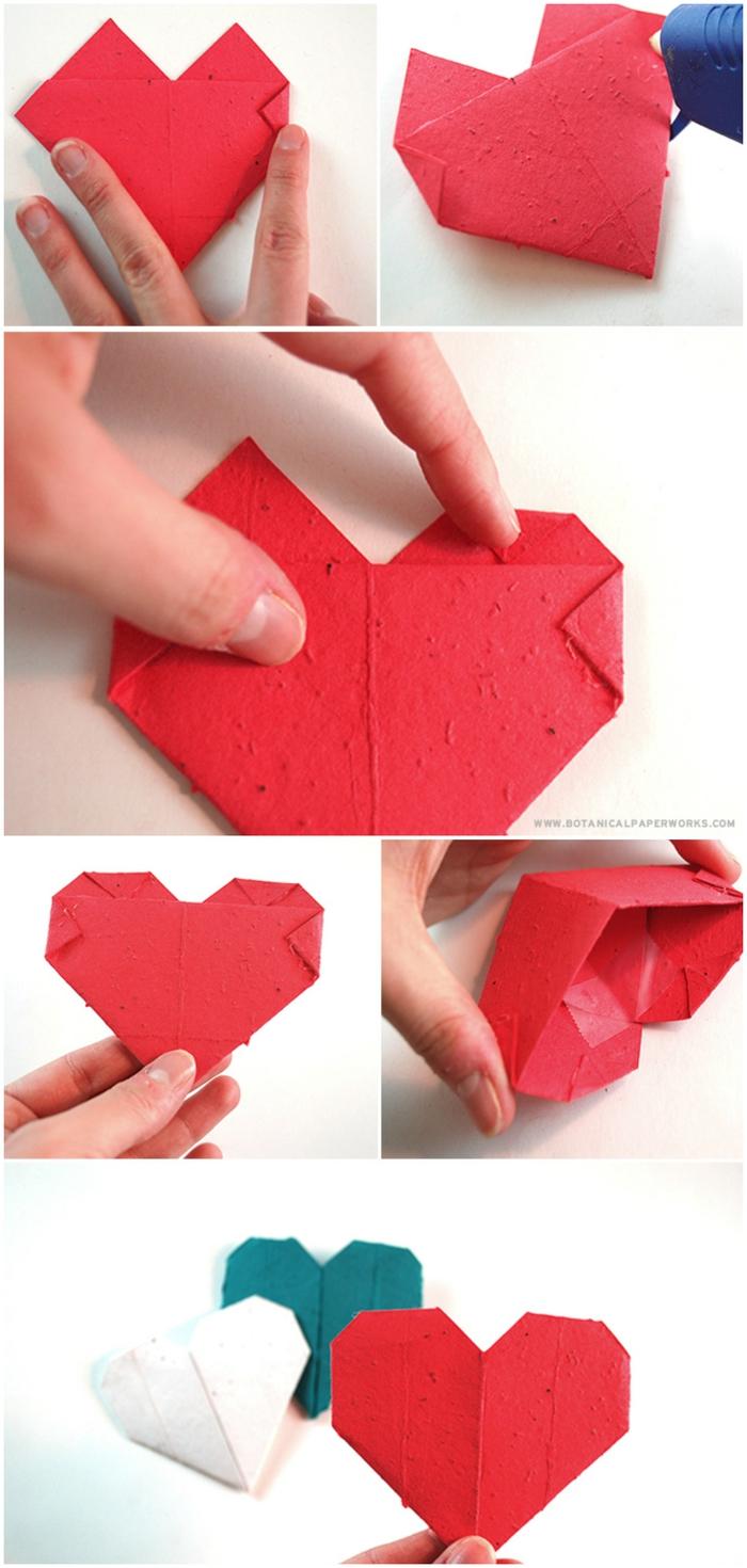 jolie boîte à graines en carton, en forme de coeur réalisée en quelques étapes de pliage papier facile