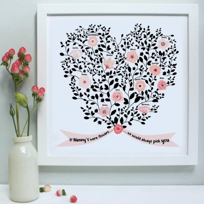 dessin digital à design coeur à motifs fleurs et feuilles avec ruban aux mots doux pour la fete des mammies