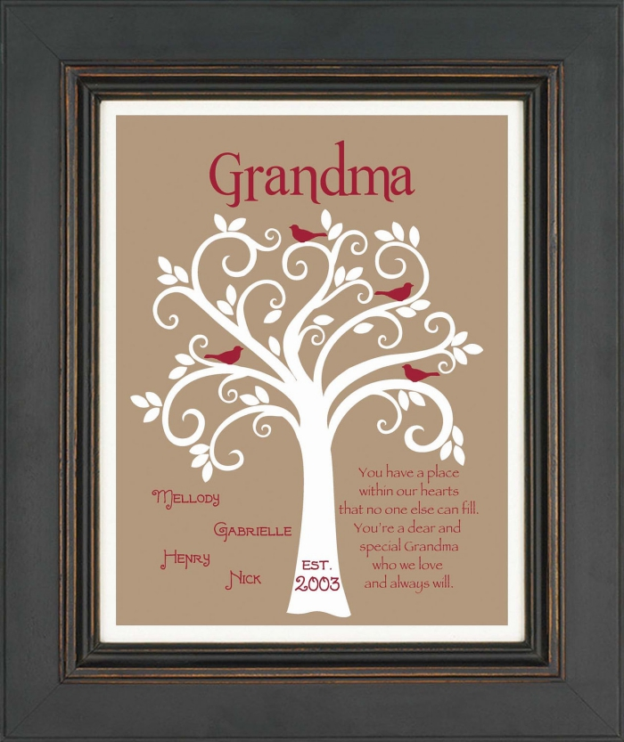 modèle de dessin à design arbre aux feuilles et oiseaux avec les noms des petits-enfants à offrir à sa mamie