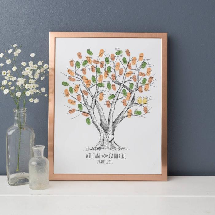déco simple avec un souvenir du mariage en forme de dessin blanc et noir avec empreintes en couleurs orange et vert