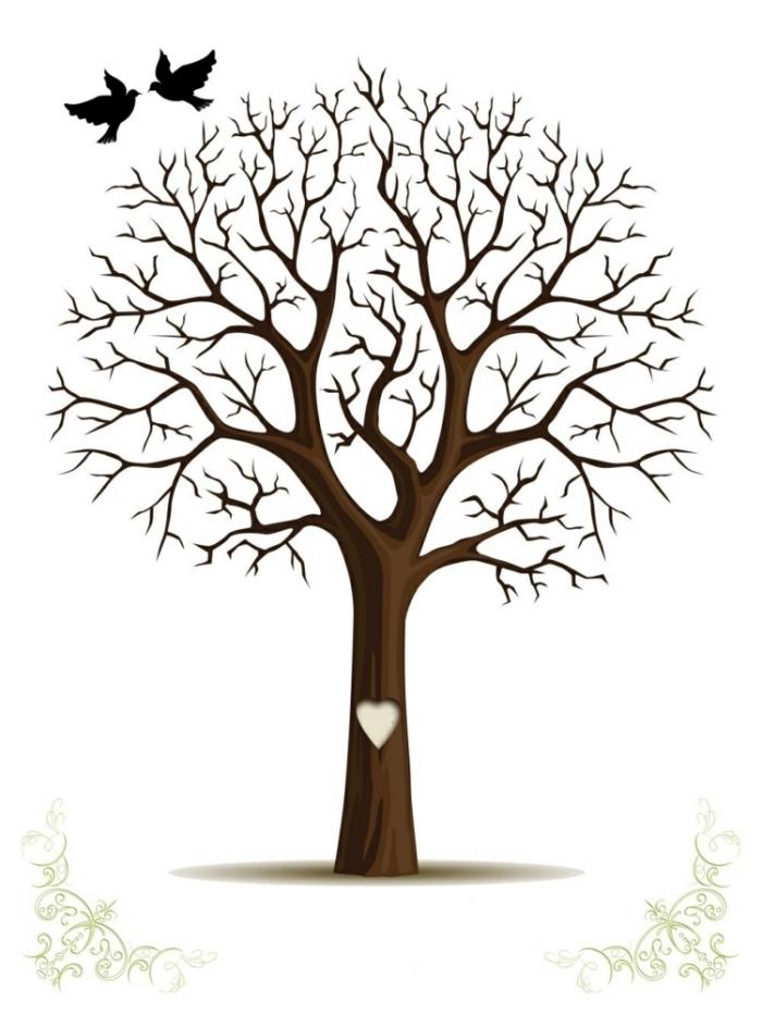modèle arbre a empreinte bapteme ou mariage avec grand coeur sur le tronc et sans feuilles