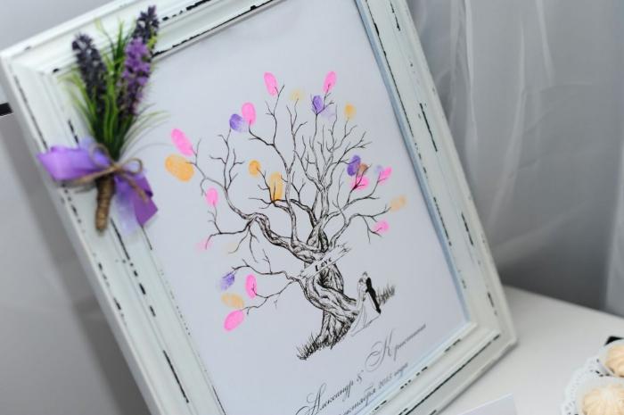 accrocher l'arbre en empreintes colorés des invités au mariage sur le mur avec un cadre photo à design vintage