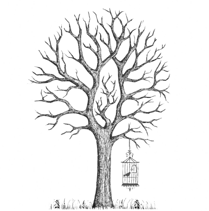 comment dessiner un arbre vierge sans feuillage avec cage oiseau et gazon, art du papier avec joli dessin à design naturel