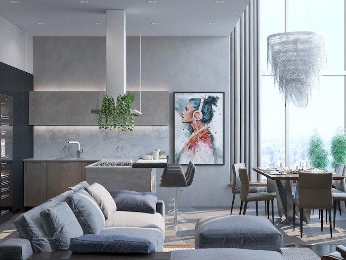exemple quelle couleur avec le gris, camaieu de gris, canapé et tabourets gris foncé et mur gris clair, ilot central bois foncé, suspension originale, portrait femme à l aquarelle