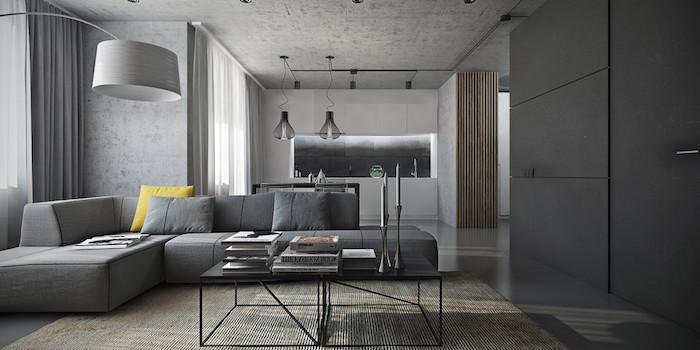 canapé couleur gris anthracite, table basse noire en métal, tapis gris clair, salon ouvert sur cuisine blanche classique