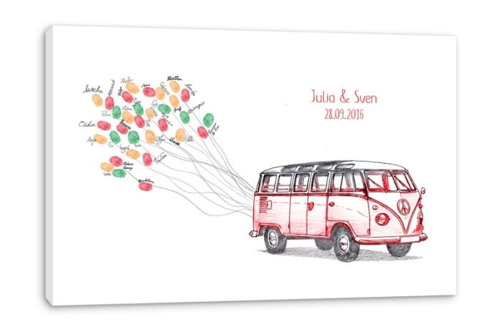 tableau à accrocher sur le mur à design caravane avec ballons volants des nouveaux mariés avec la date du jour j
