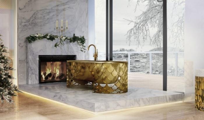 déco luxueuse dans la salle de bain avec revêtement en marbre blanc et éclairage néon jaune, modèle de baignoire autonome dorée