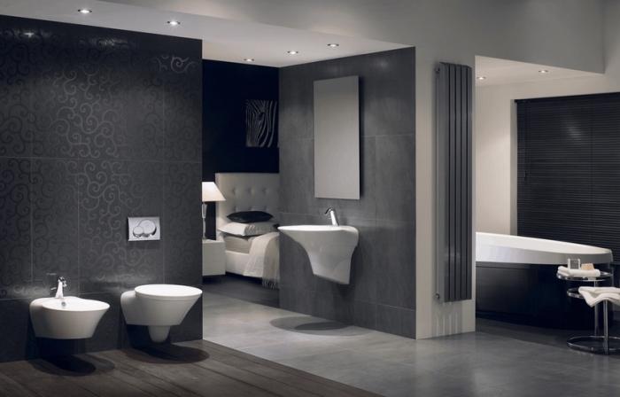 déco en couleurs foncées dans une salle de bain ouverte vers la chambre, déco en blanc et gris anthracite pour un intérieur luxueux et moderne