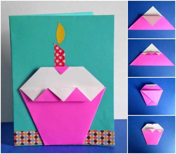 un bricolage origami enfant pour personnaliser une carte d'anniversaire avec un cupcake facile en origami