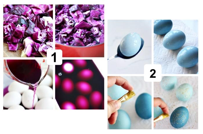 tutoriel pour faire une decoration paques facile, comment peindre les oeufs avec chou rouge et vinaigre, étapes à suivre pour teindre les oeufs de paques