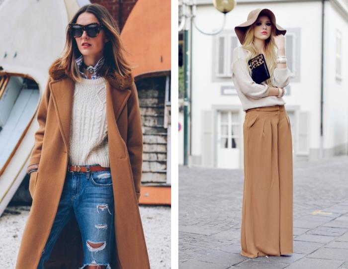 style élégant et chic avec manteau camel femme long combiné avec paire de jeans déchiré et pull over blanc en dessus d'une chemise rayée blanc et bleu