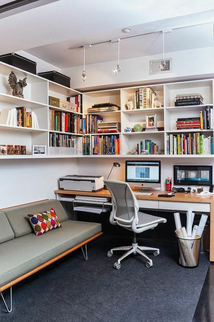 déco chambre étudiant, chambre 9m2, moquette gris anthracite, canapé en simili cuir gris pastel, luminaires blancs en métal suspendus