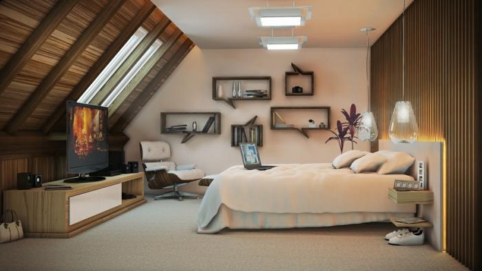 meuble de tv en bois et blanc, tv à écran plat, étagères suspendues, grandes lampes pendantes