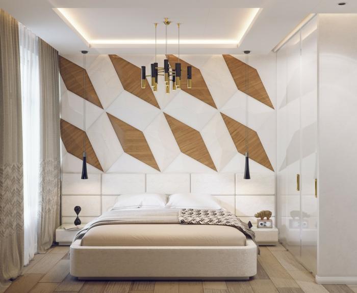 lit couleur crème, déco murale bois et blanc, arrmoire lisse en blanc, rideaux taupe