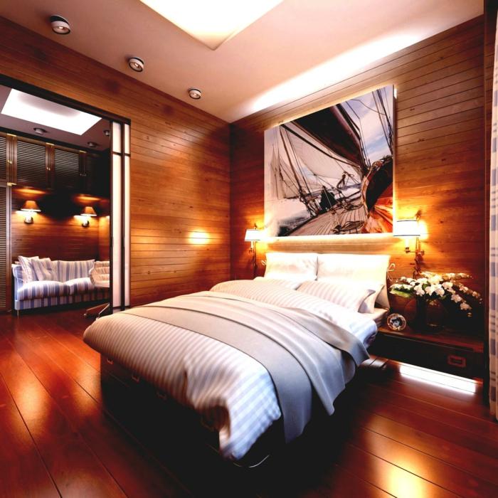 chambre style chaet, decoration murale lattes de bois, faux plafond lumineux, photographie murale en noir et blanc