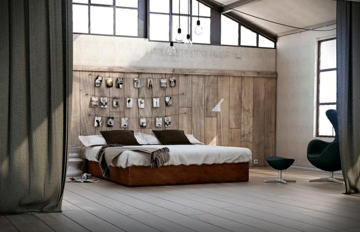 déco chambre adulte, fenêtres atelier, revetement mural en bois, chaise oeuf noire, lampes ampoules