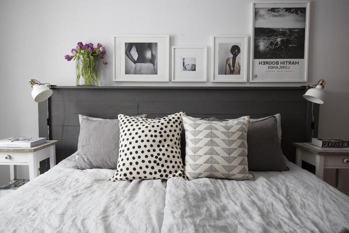 comment faire une tete de lit en bois recyclé pour donner un joli accent déco à la chambre à coucher contemporaine