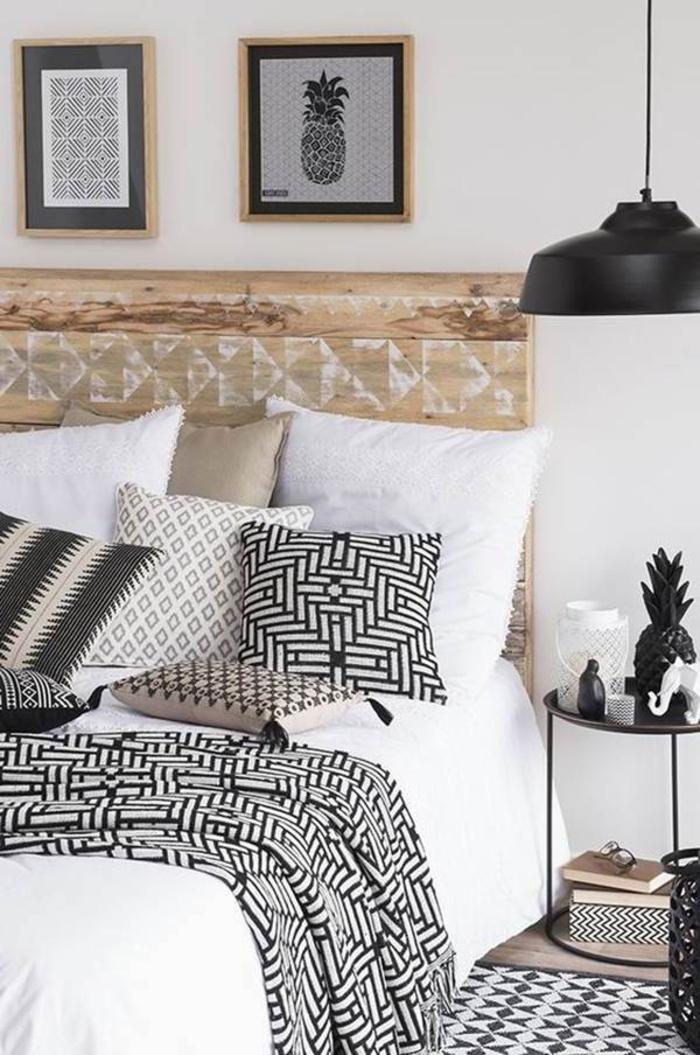 chambre à coucher scandinave aux motifs géométriques sur le textile, deco tete de lit originale avec des motifs tendance réalisés au pochoir