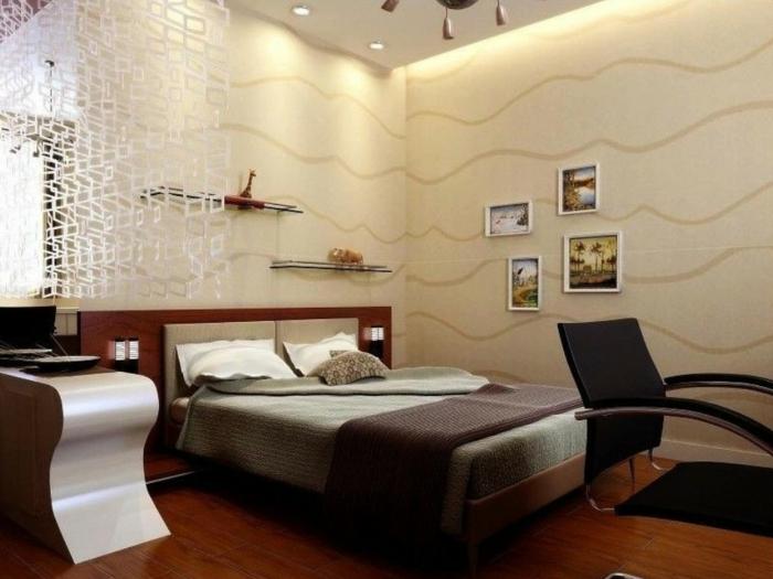 chambre parentale, chambre adulte deco beige, tableaux muraux décoratifs