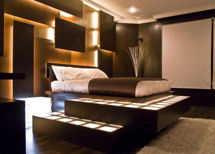 installations murales avec éclairage, chambre adulte deco japonaise, tapis beige, lit surélevé