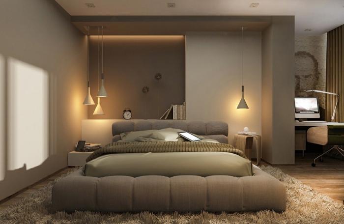 bureau sur mesure, lit et tapis beige, rangement mural intégré, lampes suspendues