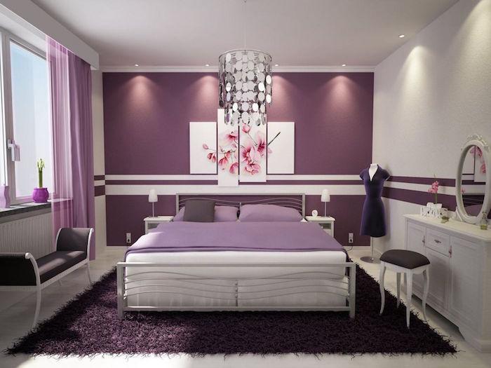 modele chambre couleur prune, chambre femme violet, decoration mauve pour chambre