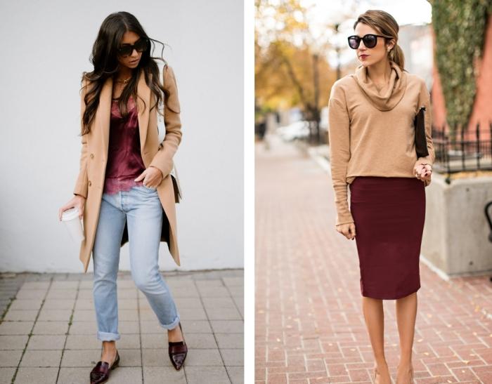 vision chic et élégante en jeans clairs combinés avec chemise et escarpins bordeaux, modèle de jupe bordeaux à porter avec une blouse camel