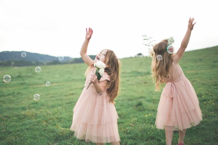 Chouette robe de demoiselle d'honneur robe petite fille d'honneur rose poudré
