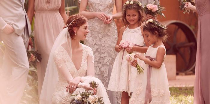 Gala robe de bapteme princesse robe petite fille d honneur tenue adorable photo la mariée et les petites demoiselles d'honneur