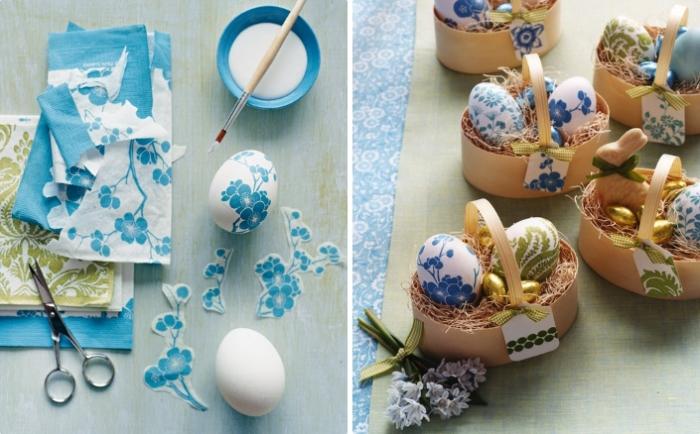 tutoriel pour faire une décoration sur coquille blanche avec colle et serviette blanc et bleu foncé à design florale
