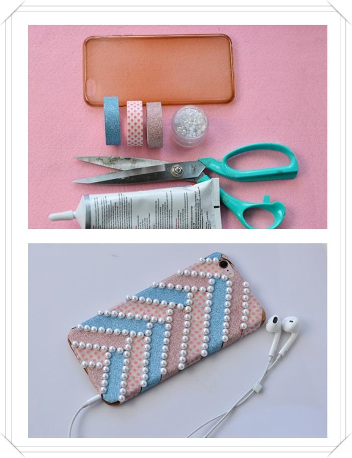 matériaux pour faire une décoration moderne de coque portable avec ruban adhésif en rose et bleu et petites perles blanches