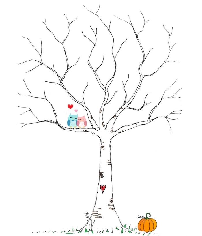 dessin blanc et noir avec couple oiseaux en couleurs et petit coeur rouge sur le tronc à piquer pour un souvenir de mariage DIY
