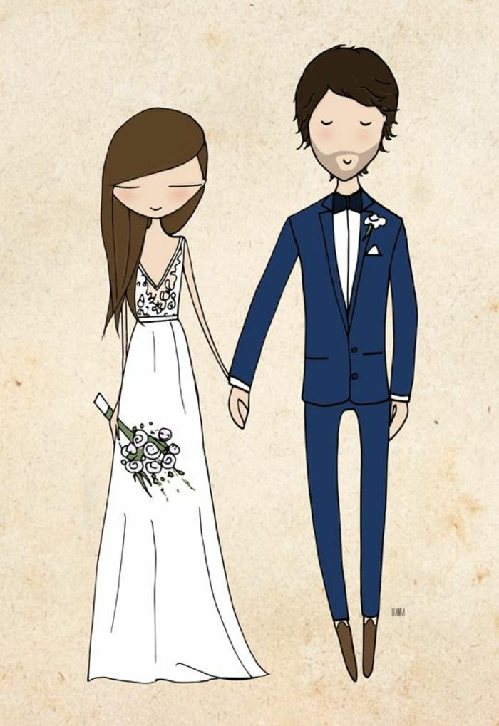 Noces image pour un mariage dessin illustration mariés