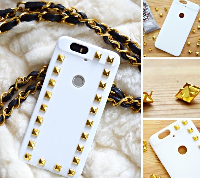 modèle de coque a personnaliser à design rock chic de couleur blanche avec une décoration en clous dorés